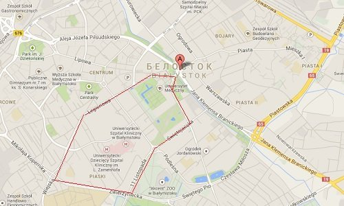 Карта дорого для уличного бега в Белостоке