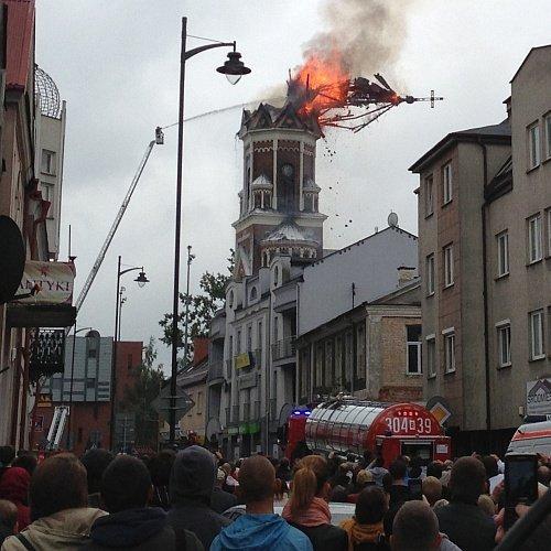 Пожар башни костела в Белостоке