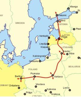 Карта железной дороги Rail Baltica