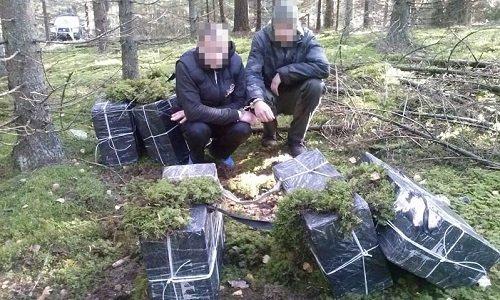 Задержание в лесу контрабандных сигарет из Беларуси