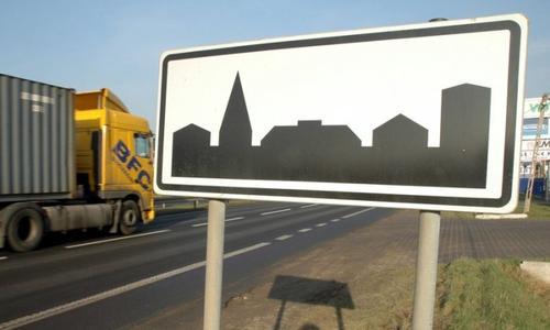 Знак городской застройки в Польше