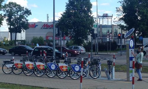 Станция вело проката возле ТЦ Галерия Бялая в Белостоке