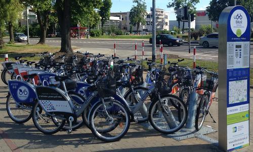 Станция велосипедов на прокат в Белостоке фирмы Nextbike