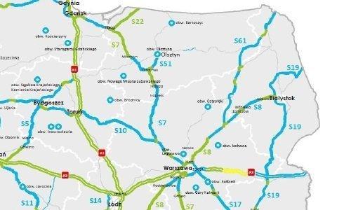 Карта ремонта дорог в Польше