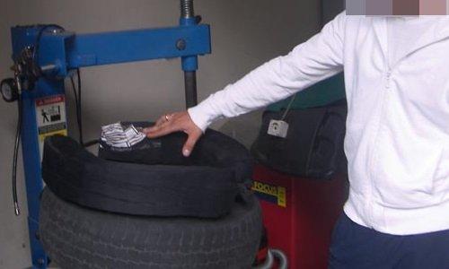 Контрабанда в шинах автомобиля