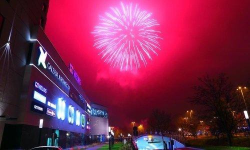 Феерверк в честь открытия торгового центра Юровецкий в Белостоке