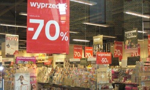 Вывески распродажи в Польше