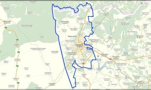 Карта безвизовой зоны в Гродно и районе