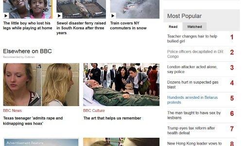 Новость о задержанияъх в Минске в топ-5 на BBC