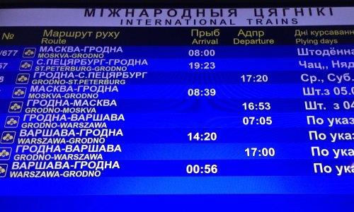 Табло с расписанием поездов