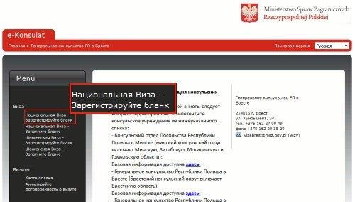 Выбор Национальной визы для регистрации