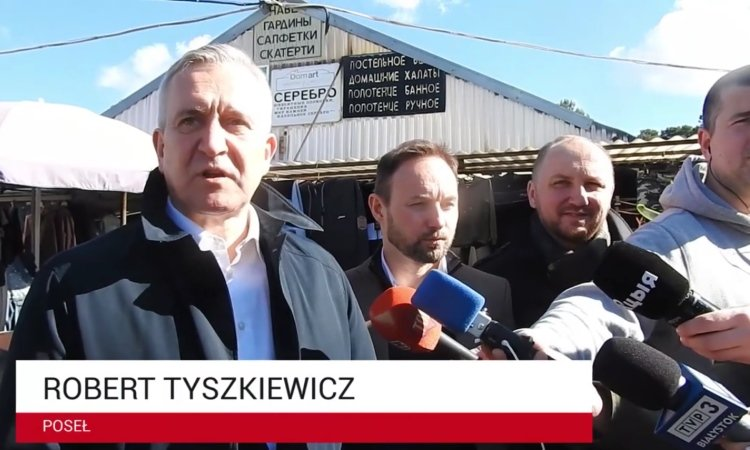 Роберт Тышкевич на рынке Кавалерийском в Белостоке