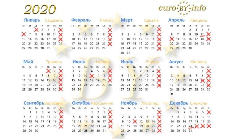 Календарь 2020 нерабочих дней в Польше
