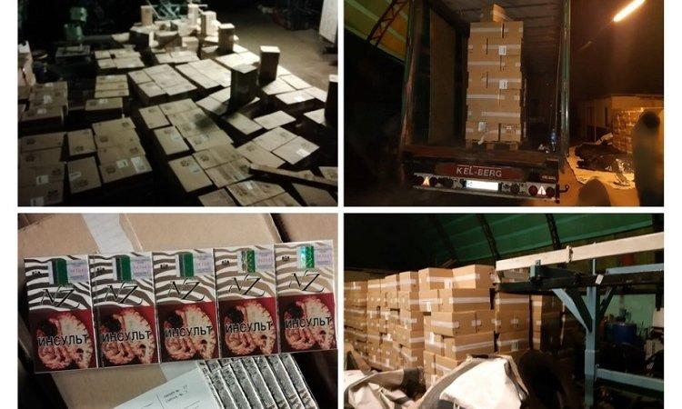 Склад с контрабандой сигарет из Беларуси в Вильнюсе