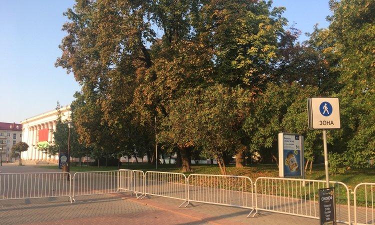 Огороженная пешеходная зона в Гродно