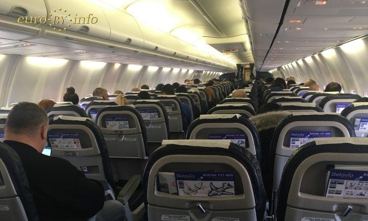 Внутри самолёта Белавиа из Минска в Варшаву