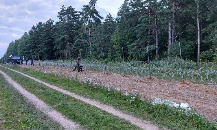 Забор на границе Польши и Беларуси